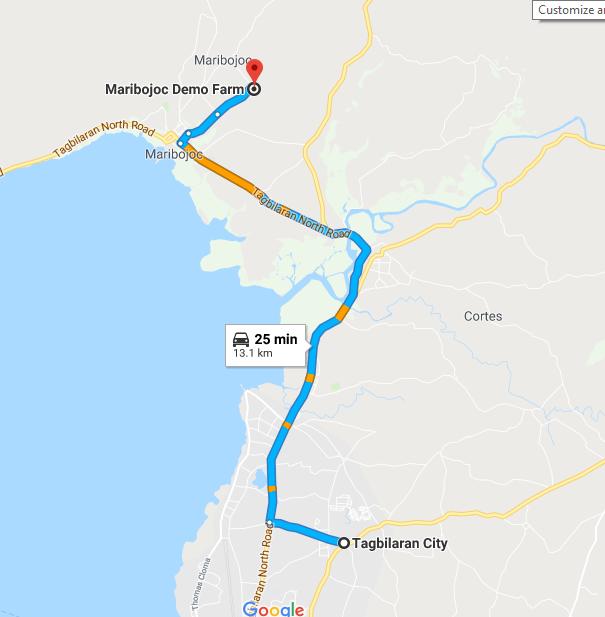 Map to maribojoc demo farm an attraction in bohol